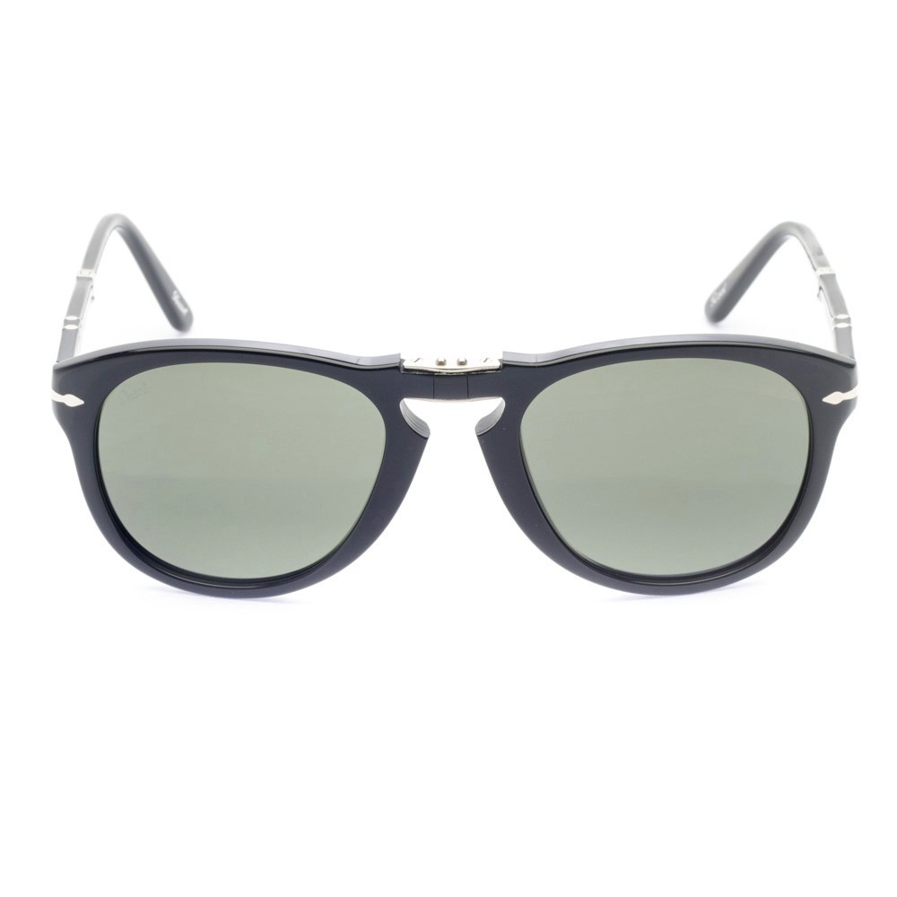 Oculos de sol Persol 0714 Dobravel tem o classico estilo aviador, com  armacao em acetato preto e lentes de cristal verde acinzentado O modelo foi  um dos ... 4a87e714a0